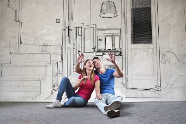das traumhaus planen - malerei türen stock-fotos und bilder