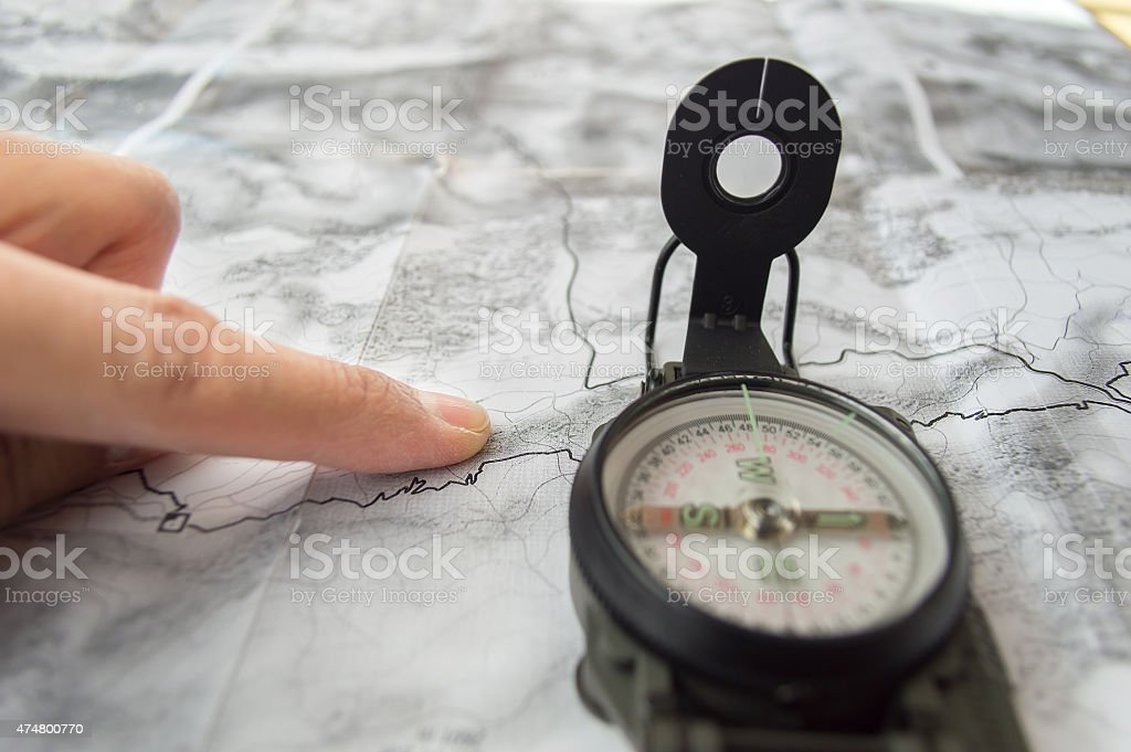 planning the route of hiking stock photo