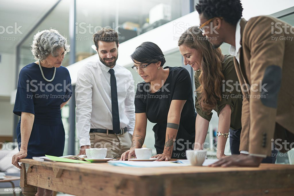 Planning their assault on the deadline royalty-free stock photo