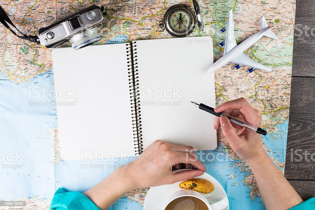 Planning travel. stock photo