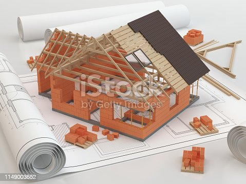 845440944istockphoto Plans and building house 1149003652