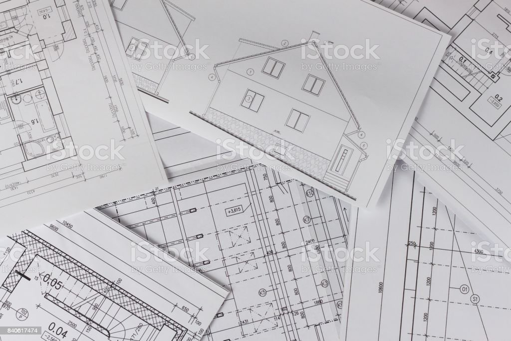 Plans Of Building Architectural Project Floor Plan Designed Building On The Drawing Engineering And Technical Drawing Part Of Architectural Project Stock Photo Download Image Now Istock