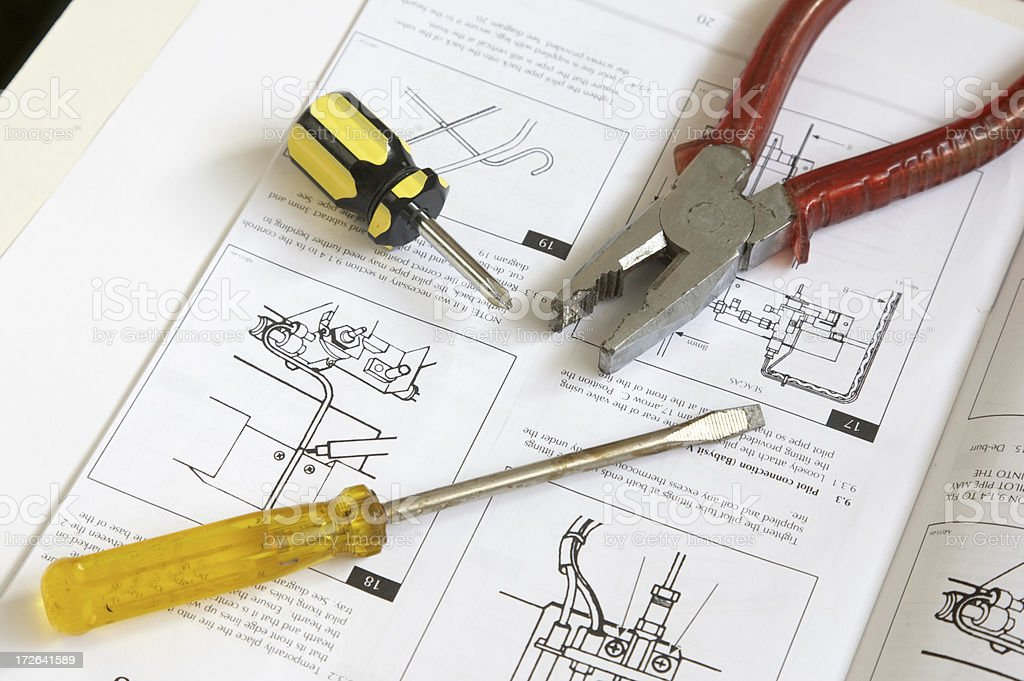 Plans screwdrivers pliers royalty-free stock photo
