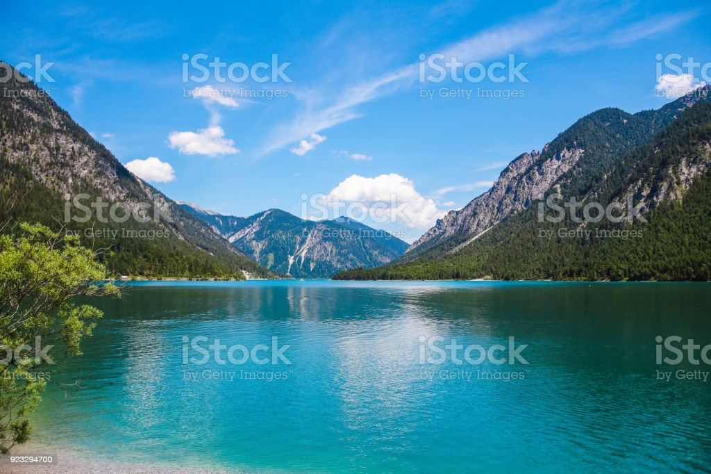 Plansee in Tyrol near Reutte, Ammergauer Alps,Austria stock photo