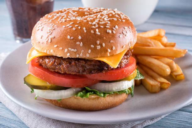 Plant Based Cheeseburger stock photo