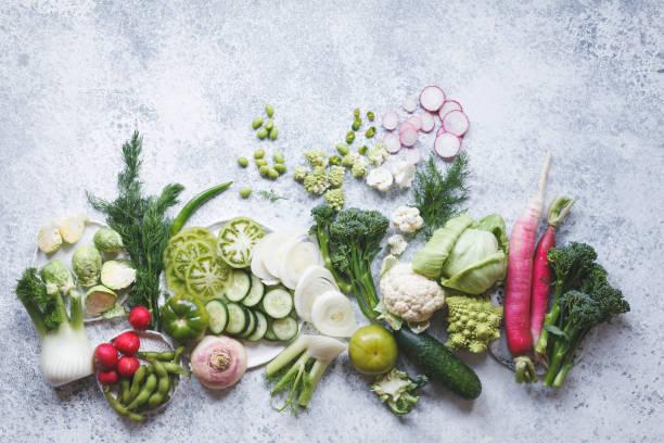 Plant based raw green purple food vegan variation stock photo