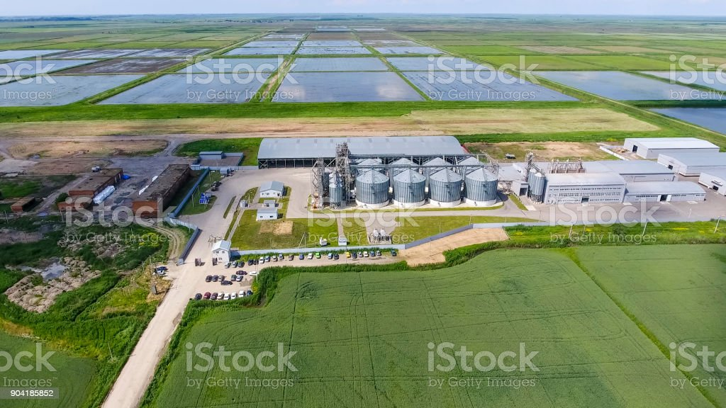 Plant for the drying and storage of grain stock photo