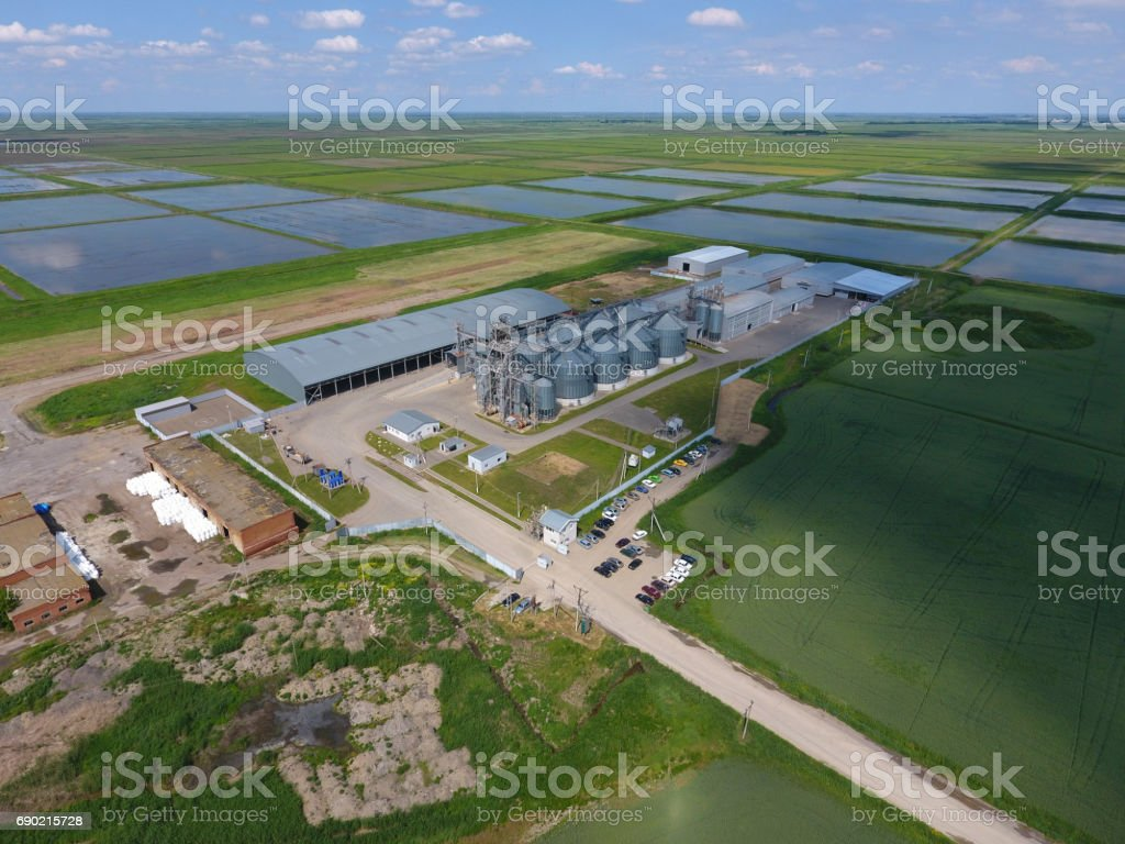 Plant for the drying and storage of grain. Top view. Grain terminal. stock photo