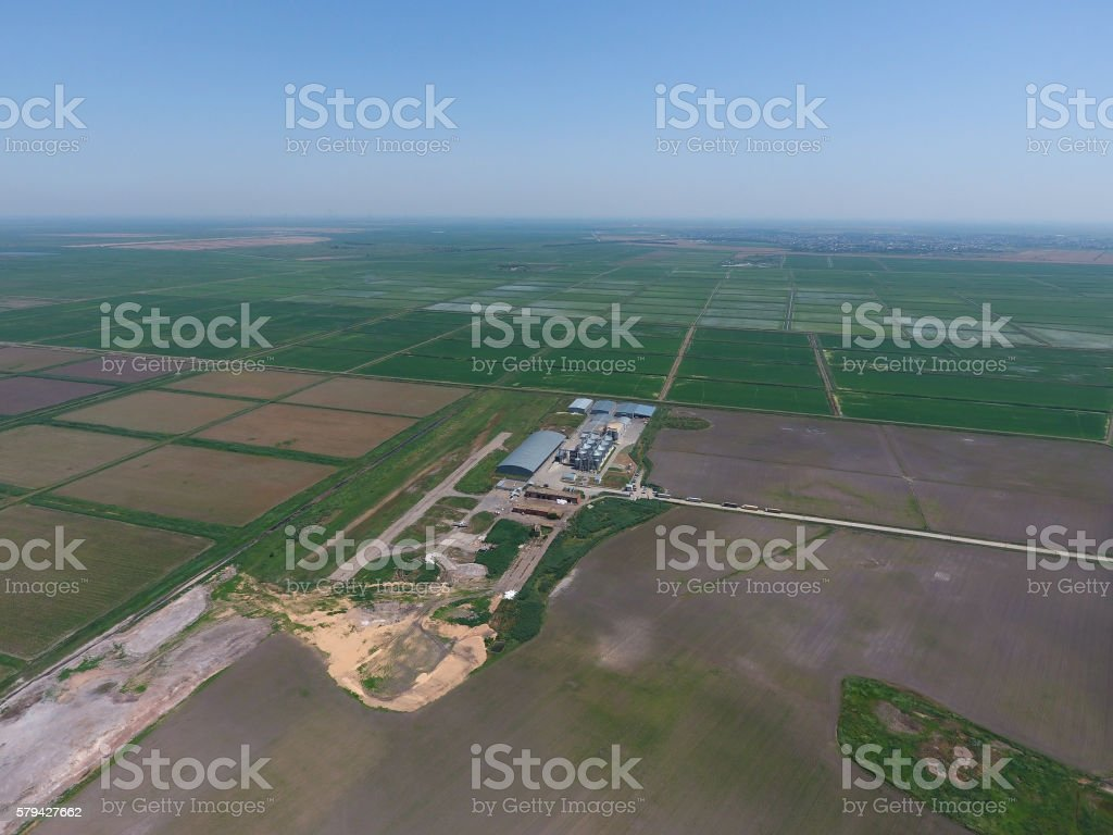 Plant for the drying and storage of grain. Top view. stock photo