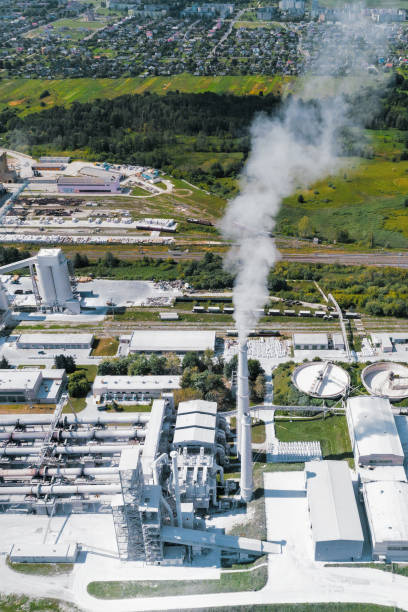 Plant for the production of cement, aerial photography stock photo