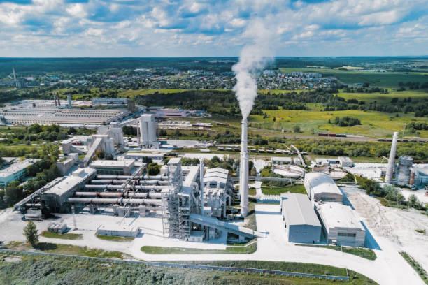 Anlage zur Herstellung von Zement, Luftaufnahmen – Foto