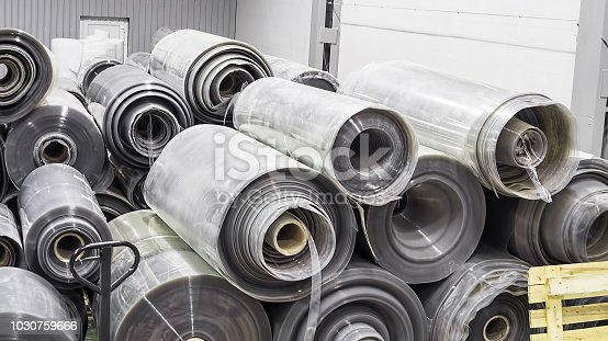 513948652 istock photo Plant for the production of plastic film. Factory from the inside. 1030759666