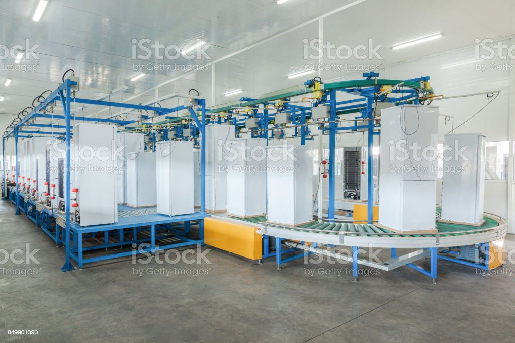 Plant for the production of refrigerators stock photo