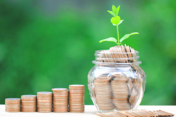 plant growing on coins money and glass bottle on green background, investment and business concept - bank deposit slip stock pictures, royalty-free photos & images