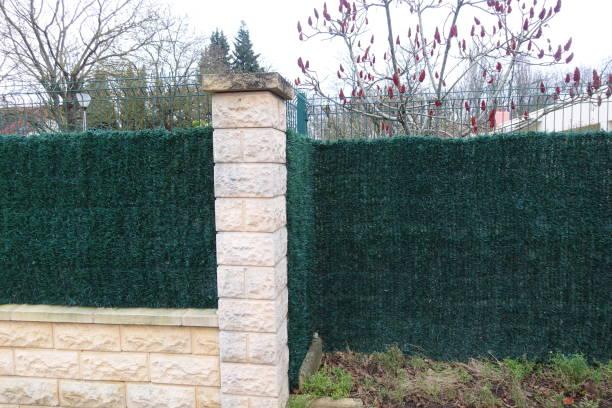 Cтоковое фото Plant imitation sintétyque fence Hedge border