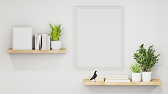 3d rendering of white home interior with wooden shelves on wall.