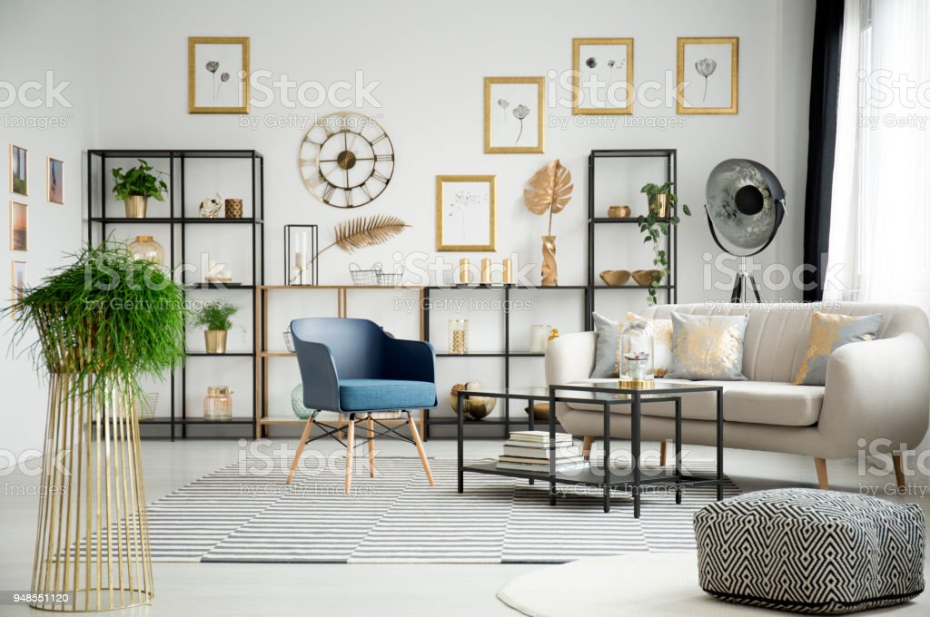 Plant in living room interior royalty free stock