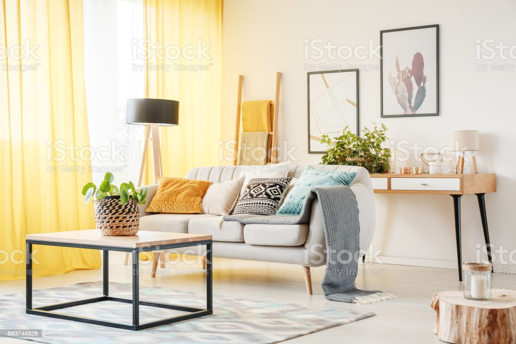 Plant In Warm Living Room Stock Photo