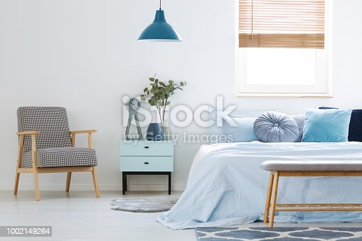 istock Plant on cabinet between patterned armchair and blue bed in bedroom interior with lamp. Real photo 1002149264