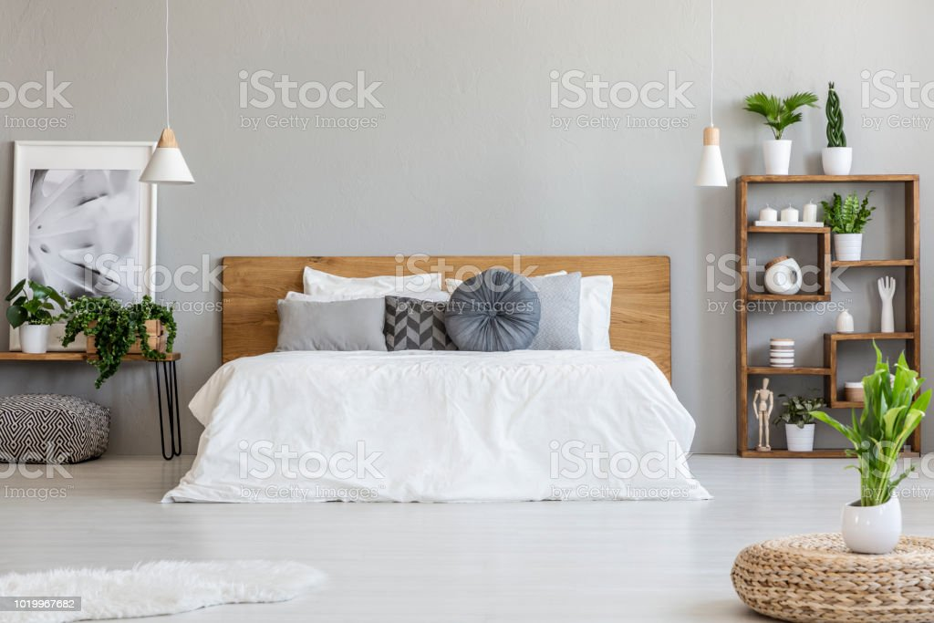 Plant on pouf in bright bedroom interior with pillows on white bed next to table with poster. Real photo
