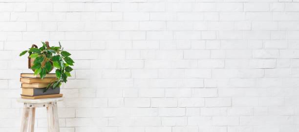 흰색 벽돌 벽을 통해 책의 스택에 공장 - 흰색 벽돌 담 뉴스 사진 이미지