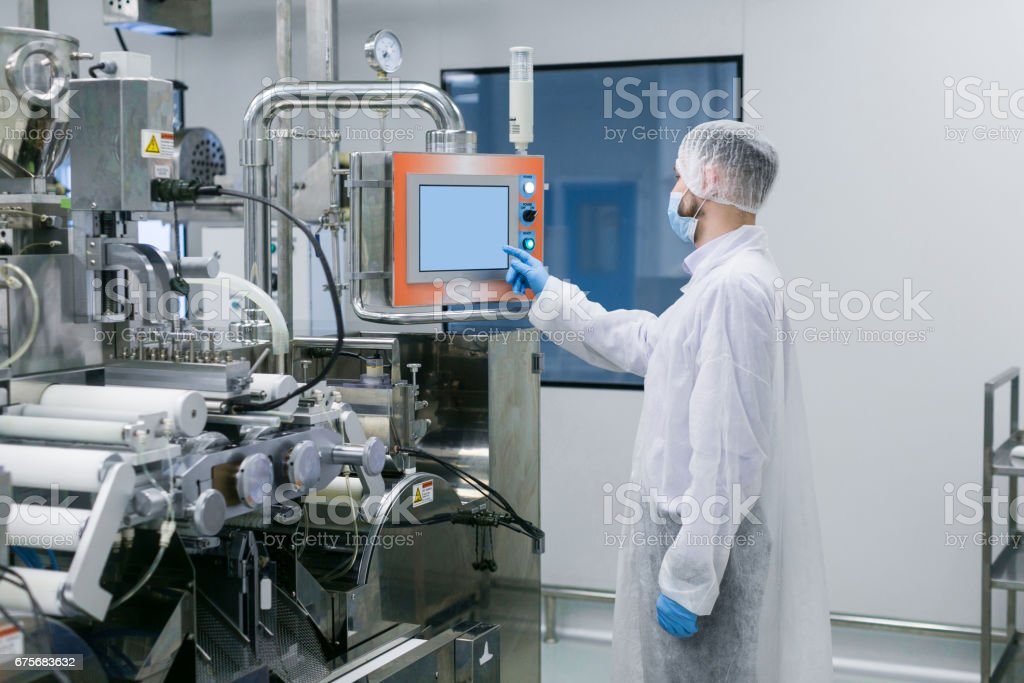 plant picture, scientist configures control panel royalty-free stock photo