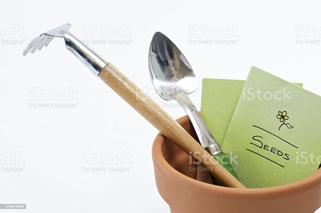 Plant Pot Tools and Seeds stock photo