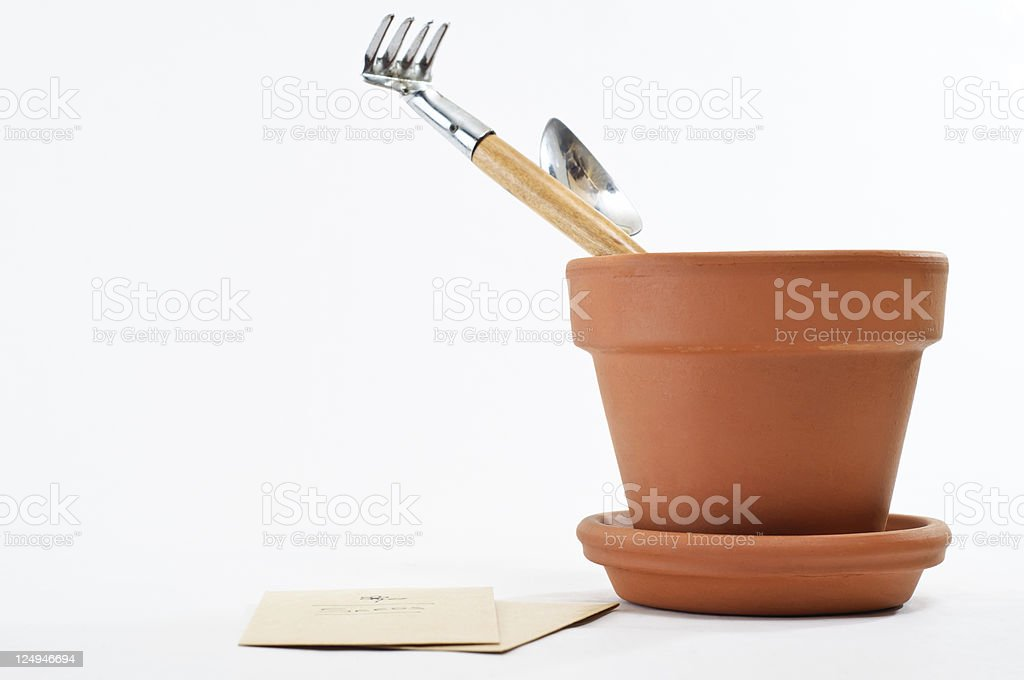 Plant Pot with Seeds and Tools stock photo