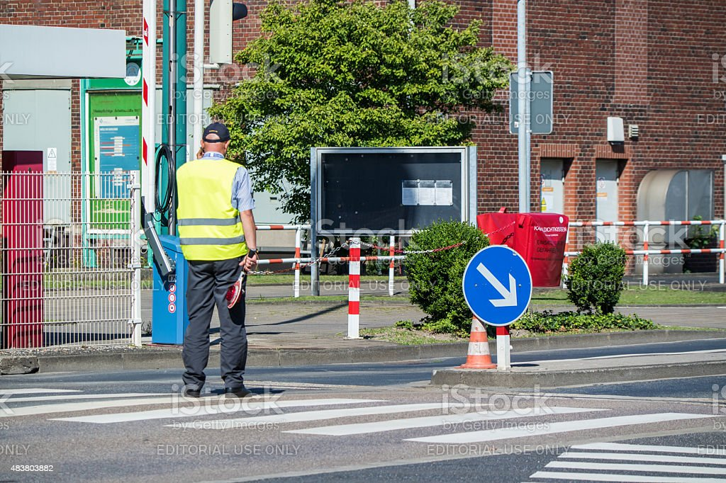 Plant security arriving at Chempark Uerdingen stock photo