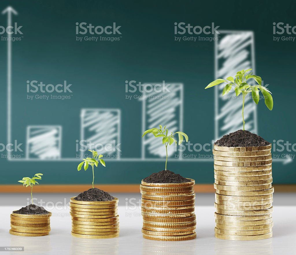 Plant your old coins to see growth royalty-free stock photo