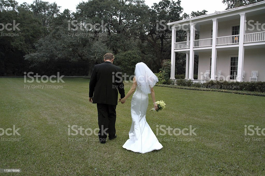 Plantation Wedding Walk stock photo