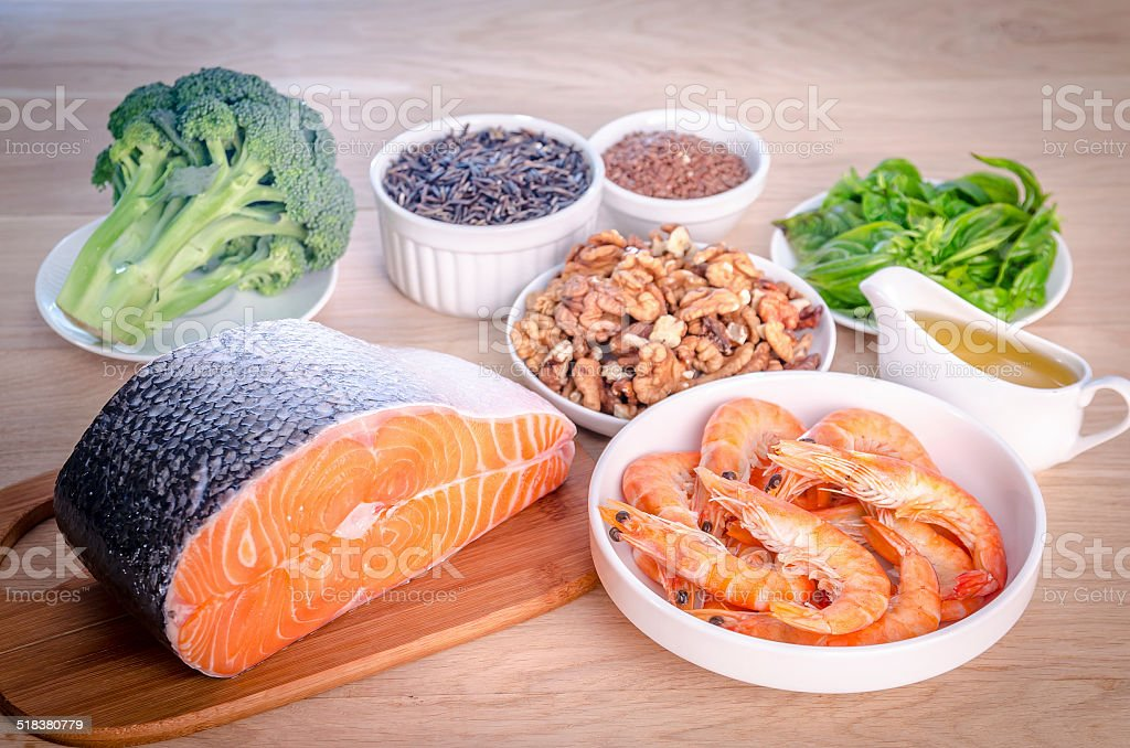 Plant-based and animal sources of Omega-3 acids Plant-based and animal sources of Omega-3 acids Acid Stock Photo