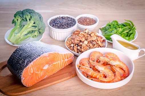 Plantbased And Animal Sources Of Omega3 Acids Stock Photo - Download Image Now