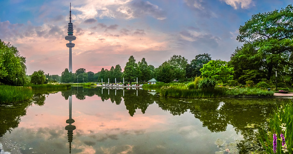 Planten um Blomen park with famous Heinrich-Hertz-Turm, Hamburg, Germany