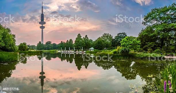 Planten Um Blomen Park With Famous Heinrichhertzturm Hamburg Germany Stock Photo - Download Image Now