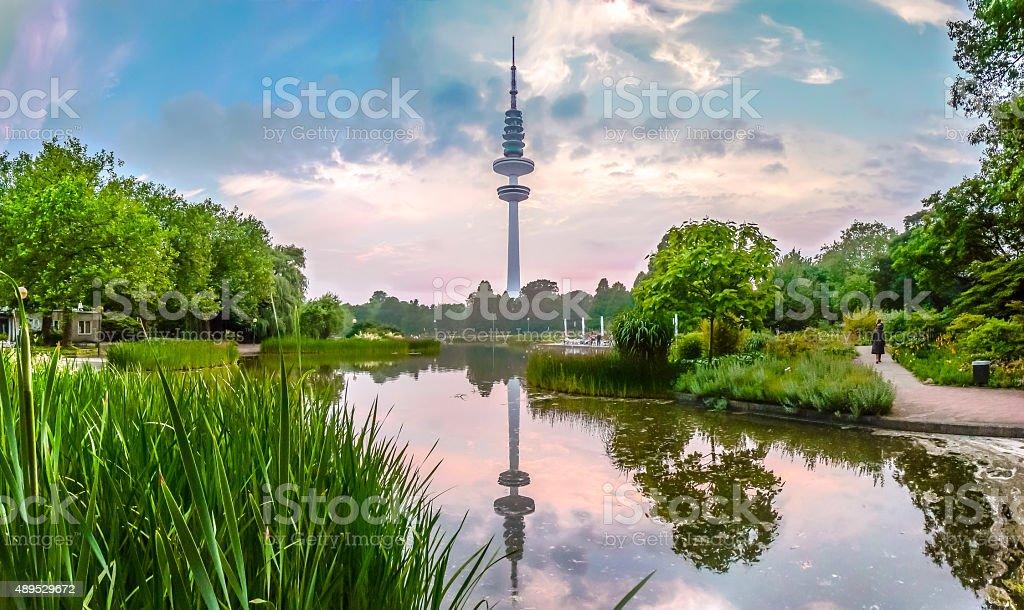 Planten um Blomen park with famous Heinrich-Hertz-Turm, Hamburg, Germany stock photo