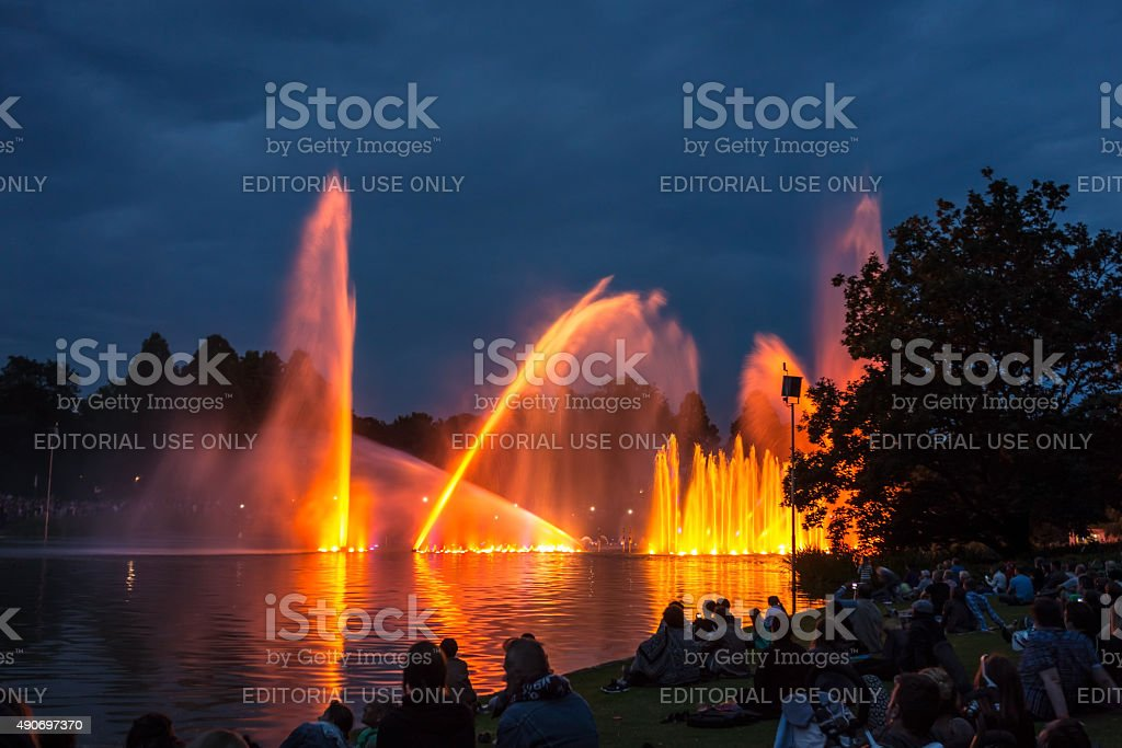 Planten un Blomen - famous water light concert stock photo