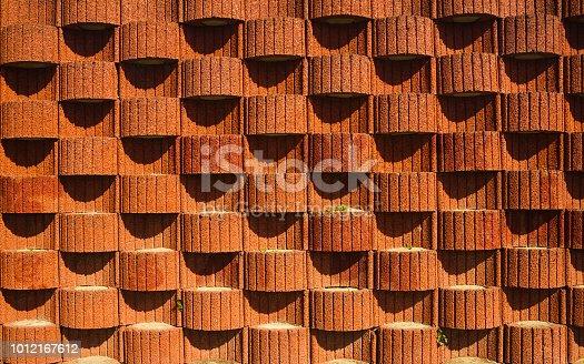 Concrete planter blocks as retaining wall. Background or texture.