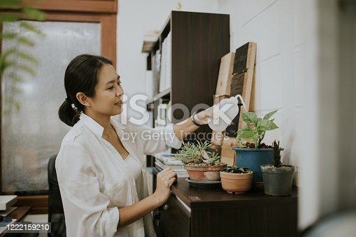 istock Planter women with her hobby in small home office 1222159210