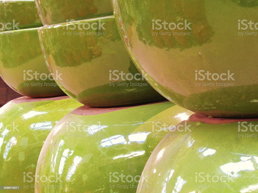 Planters - green with mauve reflections stock photo