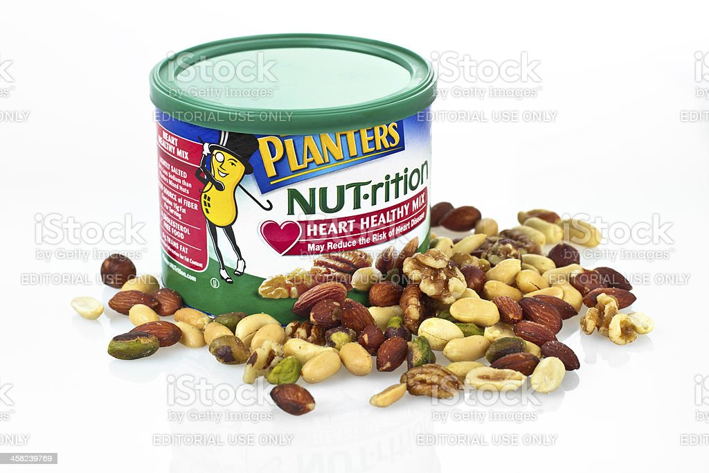 Planters mixed healthy nuts stock photo