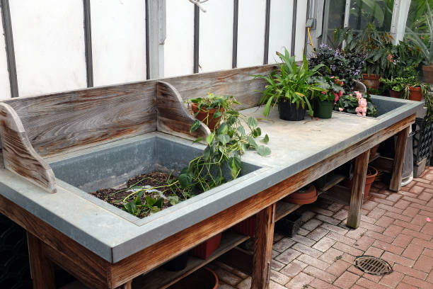 Planter's table with sink. stock photo