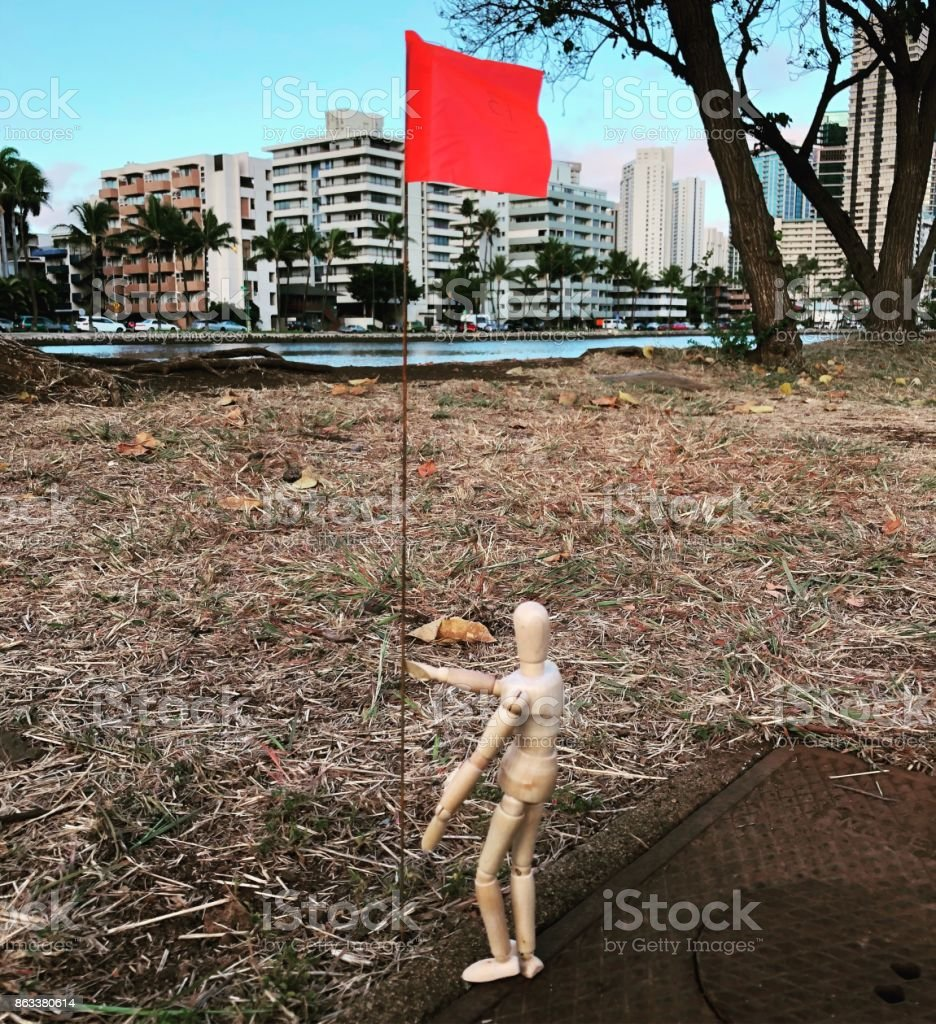 Planting a Flag stock photo