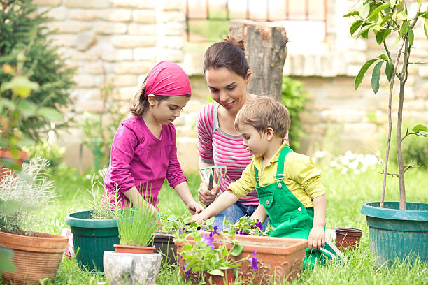 Planting pot plants with small children Young mother gardening in front or back yard  with her two cute little children potting stock pictures, royalty-free photos & images