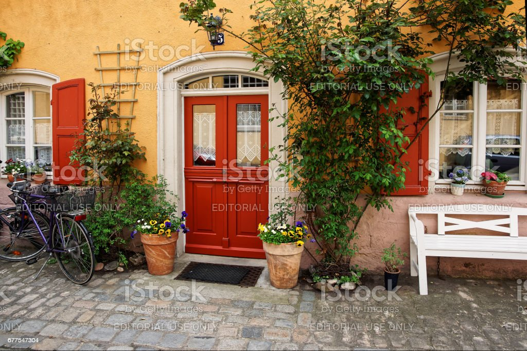 Plants Decoration of House of city center Old Bamberg Germany royalty-free stock photo