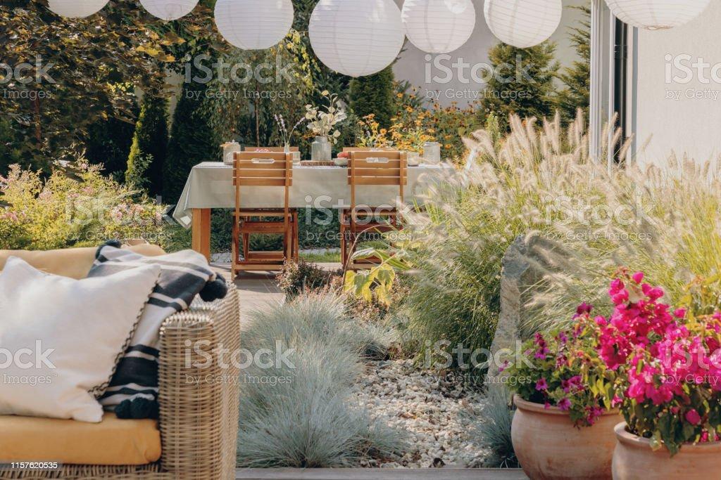 Plantas Junto Al Sofá De Ratán Con Almohadas En La Terraza