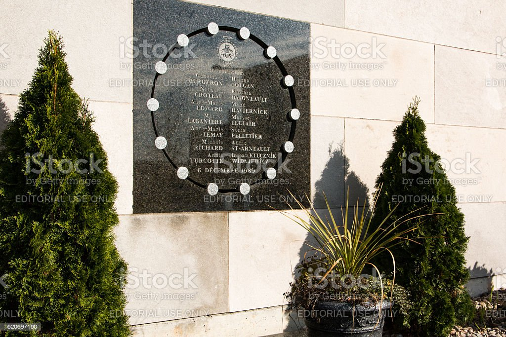 Plaque commemorating victims of the Polytechnique massacre stock photo