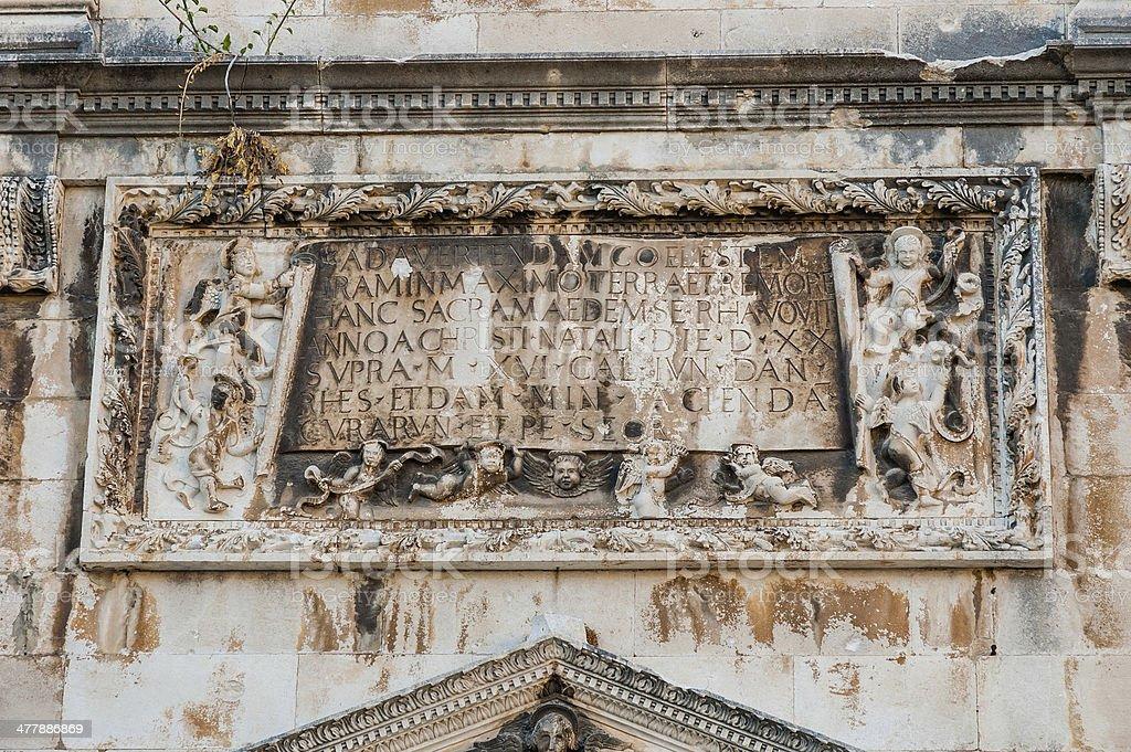 Plaque in Dubrovnik, Croatia royalty-free stock photo