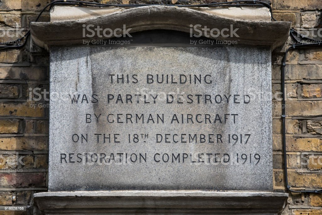 WW1 Plaque in London, UK stock photo