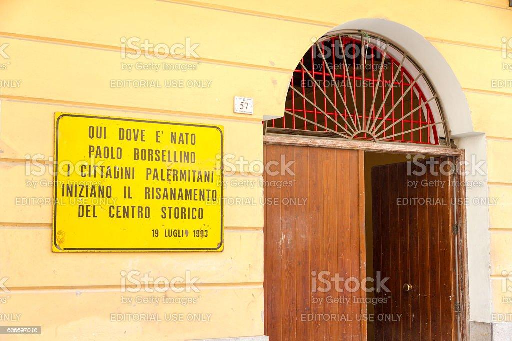 Plaque in memory of Paolo Borsellino in Palermo stock photo